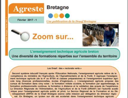 Zoom sur L'enseignement technique agricole breton Une diversité de formations réparties sur l'ensemble du territoire (Agreste Bretagne, février 2017)